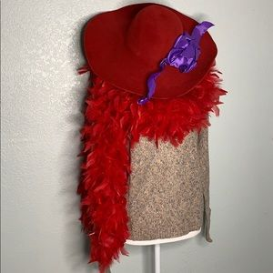 RED HAT SOCIETY HAT WITH PURPLE RIBBON & BOA